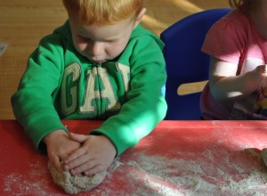 Children made German bauernbrot bread