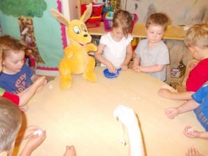 Getting extremely messy at Kiddi Caru Day Nursery Basingstoke